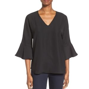 Pleione Bell Sleeve V Neck Top